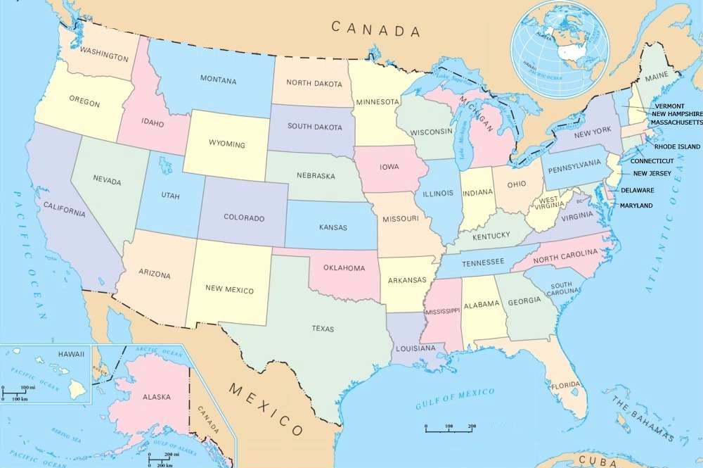 A map of The United States of America